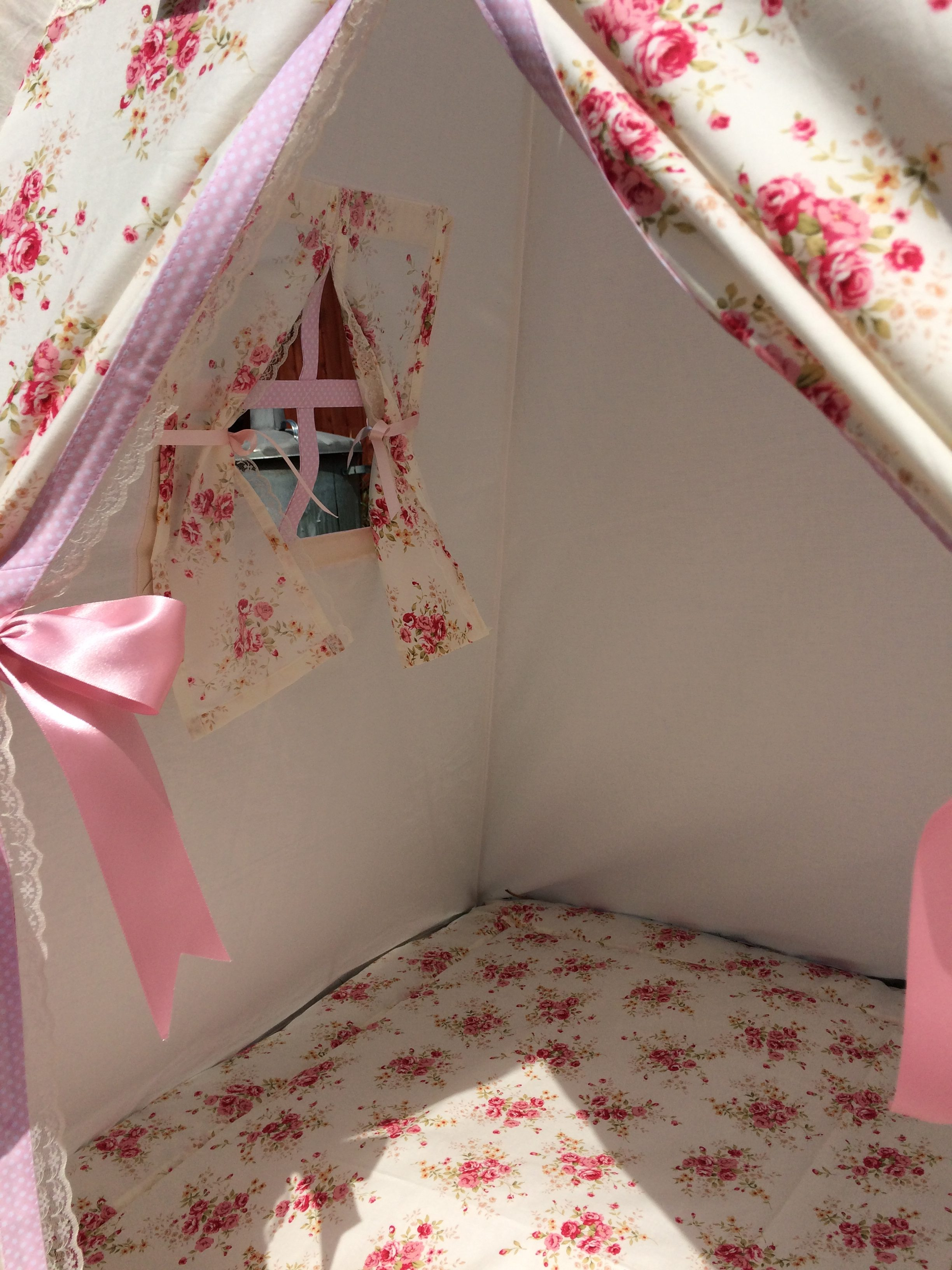personalised childrens teepee – vintage shabby chic floral rose