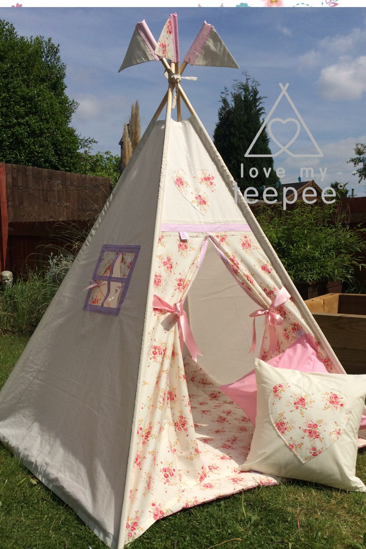 Personalised Childrens Teepee Vintage Shabby Chic Floral Rose Story Flower 1 Girls Cream Pink