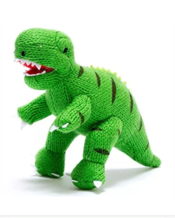 IMG 0886 350x435 - Knitted Green T Rex Soft Dinosaur Toy