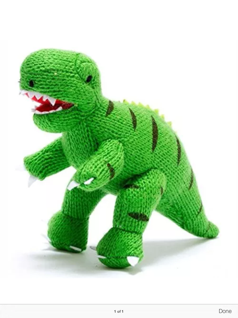 IMG 0886 768x1024 - Knitted Green T Rex Soft Dinosaur Toy