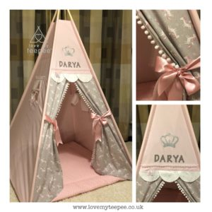 Childrens personalised pink and grey unicorn teepee