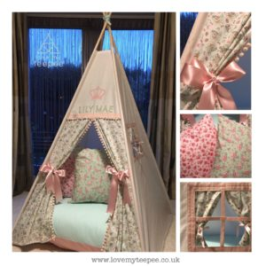 Childrens personalised afternoon tea pink teepee set