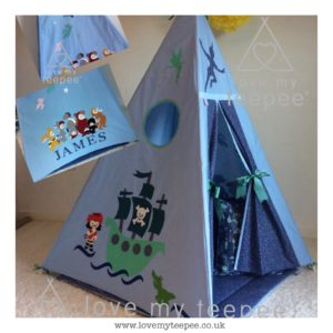 Childrens personalised peter pan and the lost boys blue teepee set