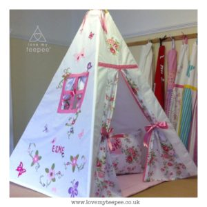 Childrens personalised shabby chic floral teepee