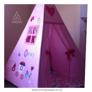 Childrens personalised pink ptincess teepee