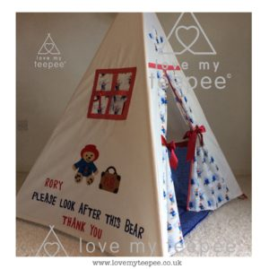 Childrens personalised paddington bear teepee set