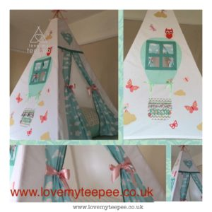 Childrens personalised hot air balloon teepee