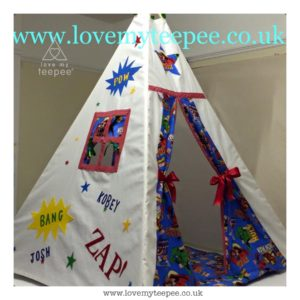 Childrens personalised superhero teepee with floor play mat