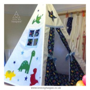 Childrens personalised dinosaur teepee