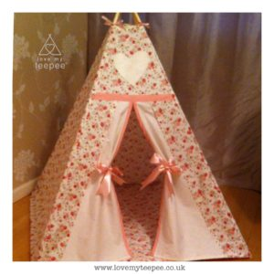 Childrens personalised blush pink rose teepee