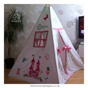 Childrens personalised pink enchanted castle teepee