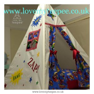 Childrens personalised marvel comic heros teepee and large floor cushion