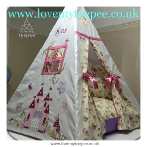 Childrens personalised enchanted castle teepee and floral floor cushion