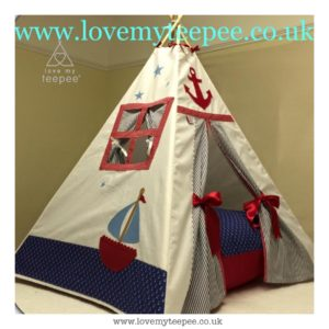 Childrens personalised nautical boat teepee