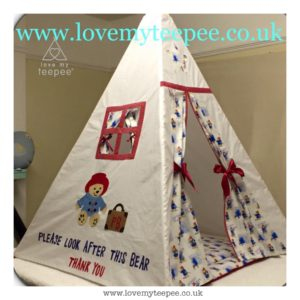 Childrens personalised paddington bear teepee with floor mat