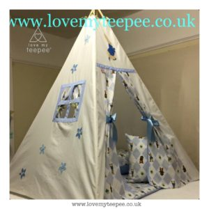 Childrens personalised peter rabbit teepee set floor mat & cushions