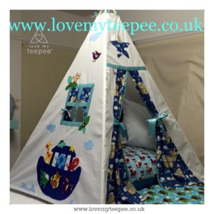 Childrens personalised noahs ark animals teepee set