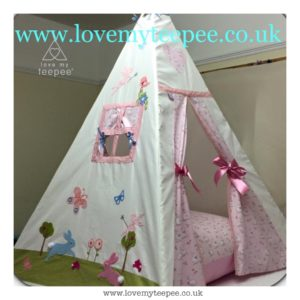 Childrens personalised pink bunnies and butterflies teepee