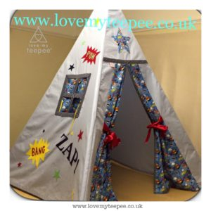 Childrens personalised blue superhero teepee