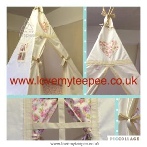 Childrens personalised cream rose teepee edged with lace