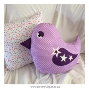 Childrens personalised birdie cushion
