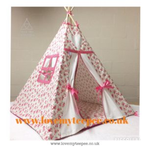 Childrens personalised pink and cream rose teepee