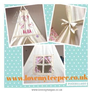 Childrens personalised cream teepee with lace edging