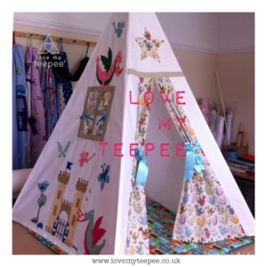 Childrens personalised castle and dragon teepee set