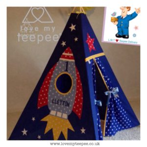 Childrens personalised rocket teepee
