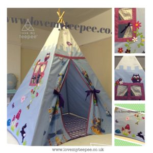Childrens personalised castle themed teepee