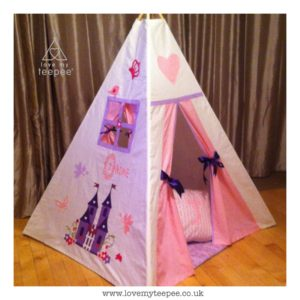 Childrens personalised lilac and pink castle teepee