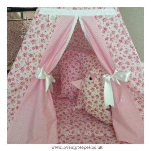 Childrens personalised floral rose teepee