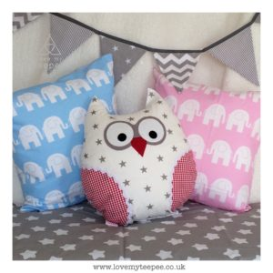 Childrens elephant and owl cushions