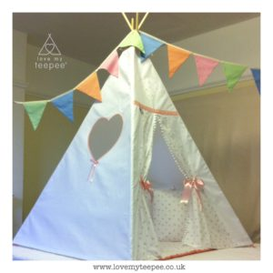 Childrens personalised heart floral teepee with pom pom edging