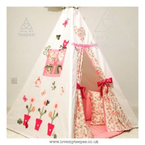 Childrens personalised flower pots teepee set