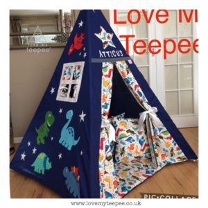 Childrens personalised dinosaur teepee set