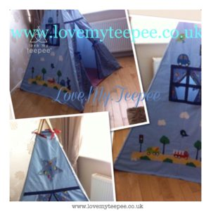 Childrens blue car teepee