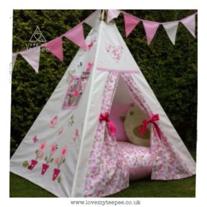 Childrens personalised flower pots floral rose teepee