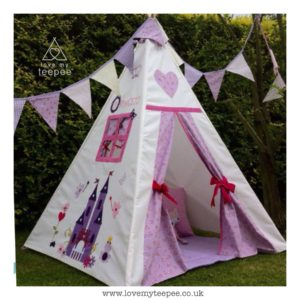 Childrens appliqued castle side panel teepee