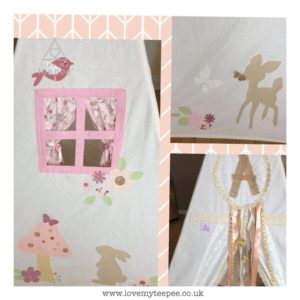 Childrens personalised bambi and thumper teepee