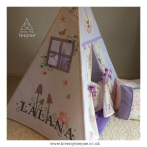 Fairyland by sanderson fabric childrens fairy personalised teepee