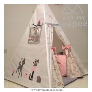 Childrens forest animals grey pink teepee
