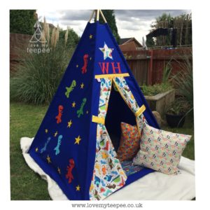 Childrens personalised dino teepee