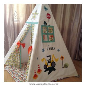 Childrens personalised digger teepee set