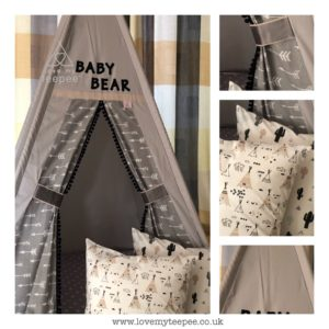 Childrens personalised grey aztec arrows and cactus teepee