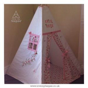 Childrens personalised floral teepee