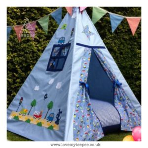 kids blue car teepee with bunting