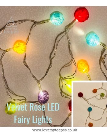 IMG 1012 350x435 - Battery Operated Coloured Velvet Rosebuds LED Fairy Lights Teepee Topper