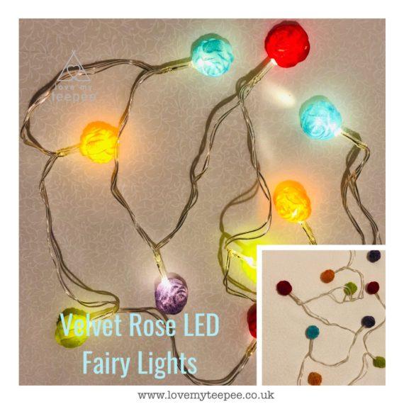 IMG 1012 570x570 - Battery Operated Coloured Velvet Rosebuds LED Fairy Lights Teepee Topper