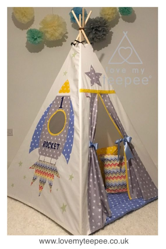Childrens large rocket teepee in blue and grey star fabric